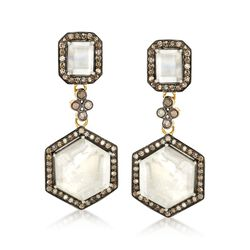 Mother-Of-Pearl Doublet and 2.00 ct. t.w. Champagne Diamond Earrings in 18kt Gold Over Sterling, , default