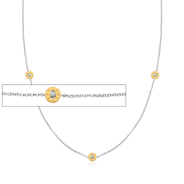 3-In-1 Diamond-Accented Evil Eye Station Necklace, Mask Chain and Eyeglass Holder in Two-Tone Sterling Silver