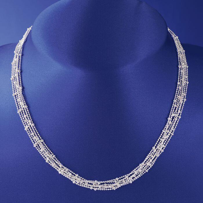 Italian Sterling Silver Seven Strand Bead Chain Necklace