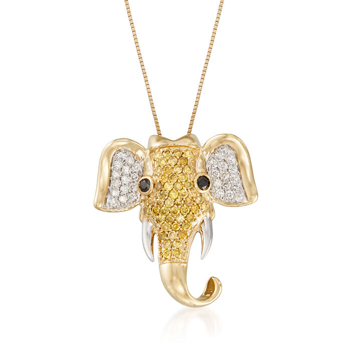 .47 ct. t.w. Yellow and White Diamond Elephant Pendant Necklace in 14kt Yellow Gold, , default