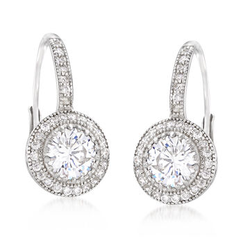 1.90 ct. t.w. CZ Round Drop Earring in Sterling Silver , , default