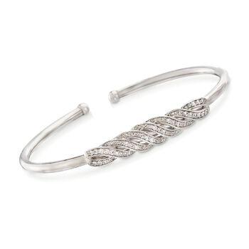 """.50 ct. t.w. Diamond Twisted Cuff Bracelet in Sterling Silver. 7"""", , default"""