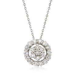 ".75 ct. t.w. Diamond Floral Circle Pendant Necklace in 14kt White Gold. 18"", , default"
