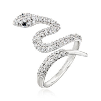 .75 ct. t.w. Diamond Bypass Ring with Black Diamond Accents in Sterling Silver
