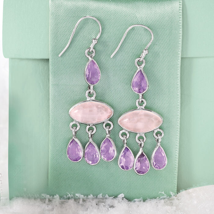 6.60 ct. t.w. Rose Quartz and 6.40 ct. t.w. Amethyst Drop Earrings in Sterling Silver