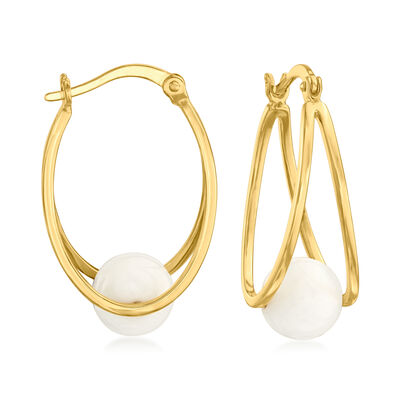 White Agate Double-Hoop Earrings in 18kt Gold Over Sterling