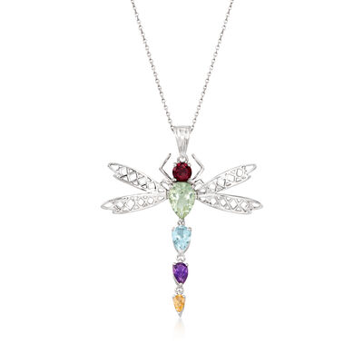 3.40 ct. t.w. Multi-Stone Dragonfly Pendant Necklace in Sterling Silver