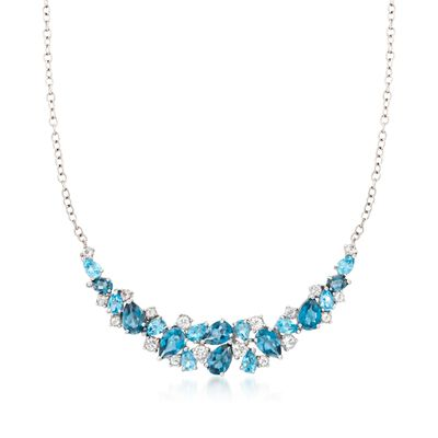 12.10 ct. t.w. Blue and White Topaz Collar Necklace in Sterling Silver, , default