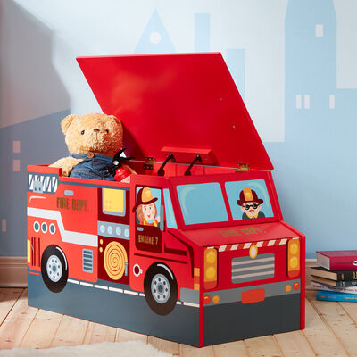 """Child's """"Little Fire Fighters"""" Wooden Toy Chest"""