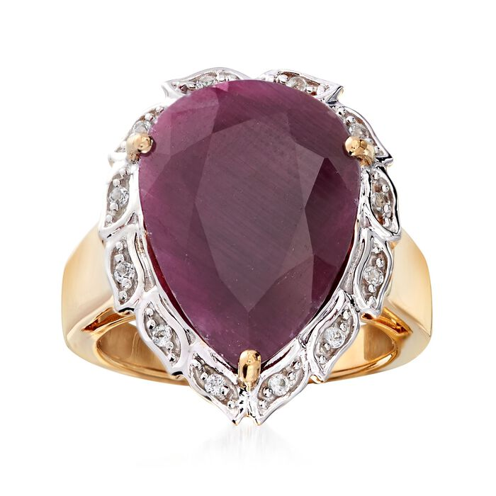 9.75 Carat Pear-Shaped Ruby and .10 ct. t.w. White Topaz Ring in 18kt Gold Over Sterling