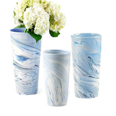 Terre Melee Set of 3 Tapered Blue Ceramic Vases, , default