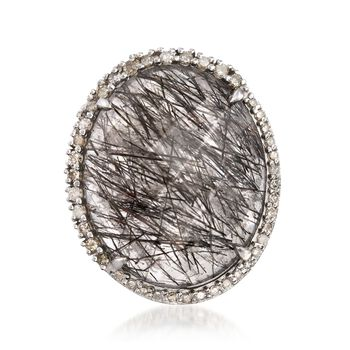19.00 Carat Tourmalinated Quartz and .53 ct. t.w. Diamond Ring in Sterling Silver, , default