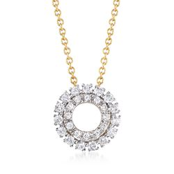 ".25 ct. t.w. Diamond Open Double Frame Circle Necklace in 14kt Yellow Gold. 18.25"", , default"