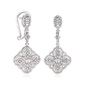 .50 ct. t.w. Diamond Floral Drop Earrings in Sterling Silver, , default