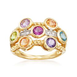 1.50 ct. t.w. Multi-Stone Ring With Diamond Accents in 14kt Yellow Gold, , default