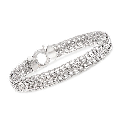 14kt White Gold Double Flat-Wheat Link Bracelet, , default