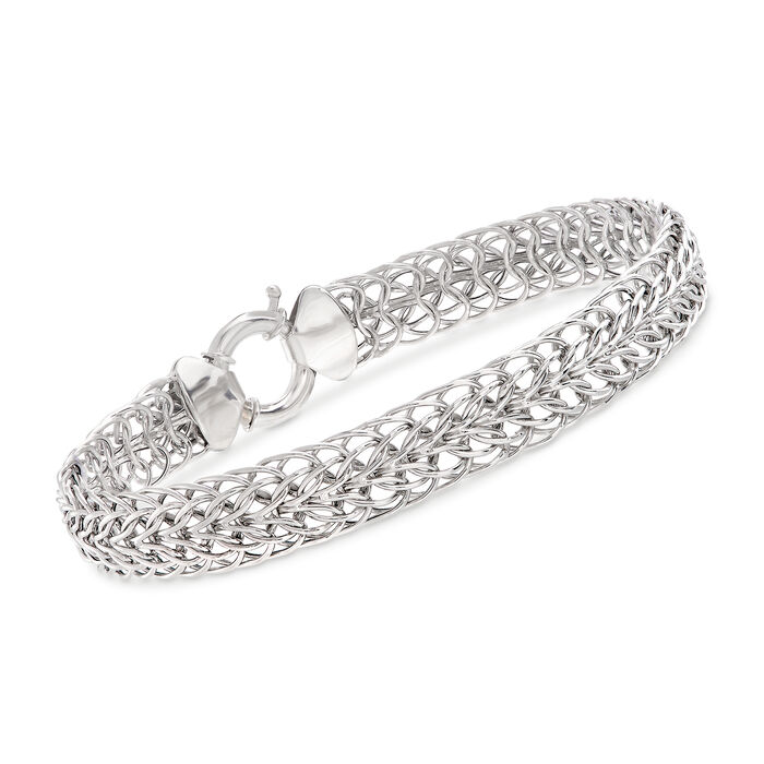"14kt White Gold Double Flat-Wheat Link Bracelet. 7"", , default"