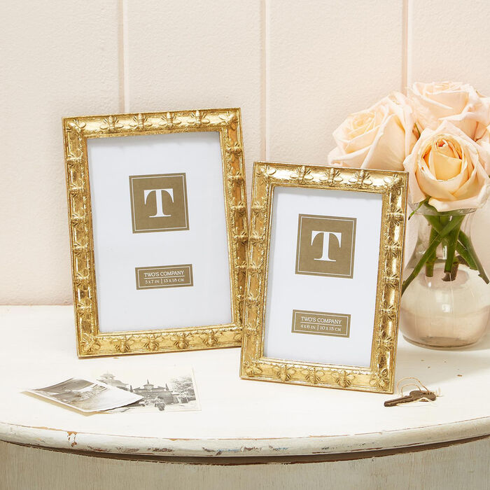 """""""Bee-Utiful"""" Set of Two Golden Photo Frames"""