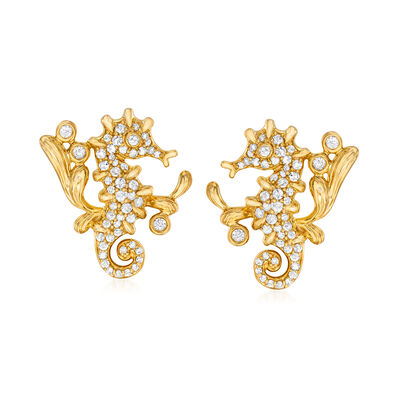 .50 ct. t.w. Diamond Seahorse Earrings in 18kt Gold Over Sterling, , default
