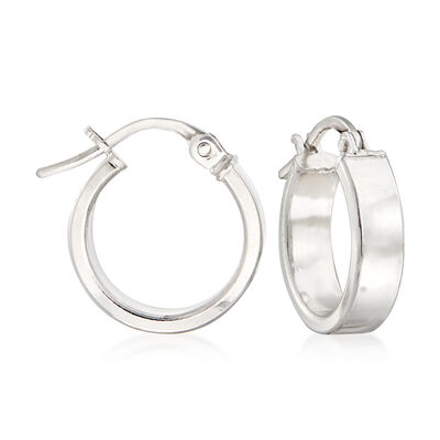 Italian 18kt White Gold Hoop Earrings, , default