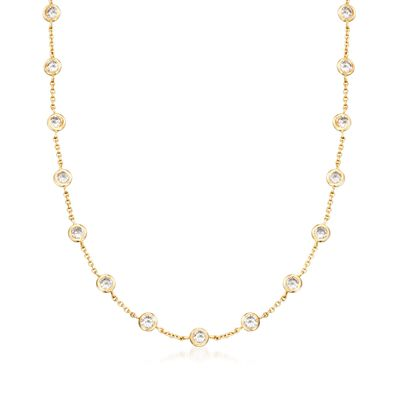 10.00 ct. t.w. Bezel-Set CZ Station Necklace in 18kt Gold Over Sterling, , default