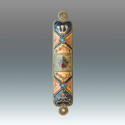 Jeweled Blue and Rose Enamel Mezuzah Case