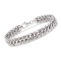 14kt White Gold Woven-Link Bracelet, , default