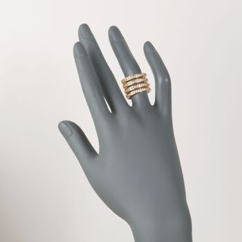 Italian 2.00 ct. t.w. CZ Four-Row Ring in 24kt Yellow Gold Over Sterling Silver. Size 5, , default