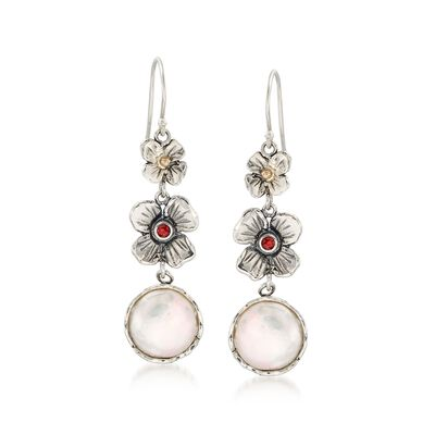 12mm Cultured Coin Pearl Floral Drop Earrings with Garnets in Sterling and 14kt Gold, , default