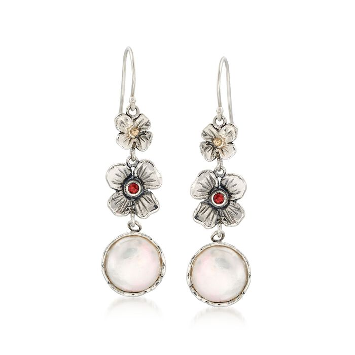 12mm Cultured Coin Pearl Floral Drop Earrings with Garnets in Sterling and 14kt Gold