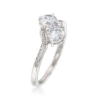 1.00 ct. t.w. CZ Two-Stone Ring in Sterling Silver, , default