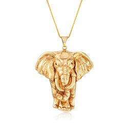 Elephant Pendant Necklace in 14kt Yellow Gold, , default