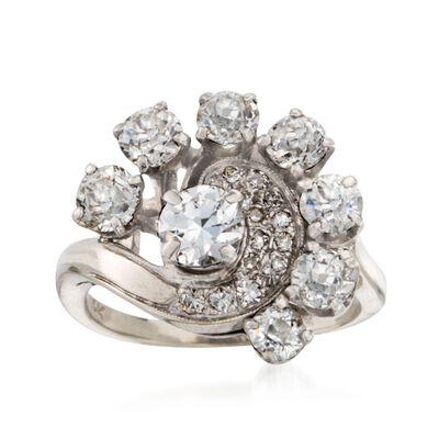 C. 1970 Vintage 2.20 ct. t.w. Diamond Swirl Ring in 14kt White Gold, , default