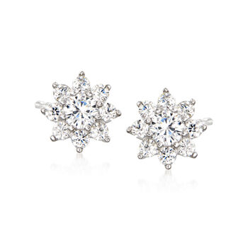 1.30 ct. t.w. CZ Jewelry Set: Three Pairs of Stud Earrings in Sterling Silver, , default