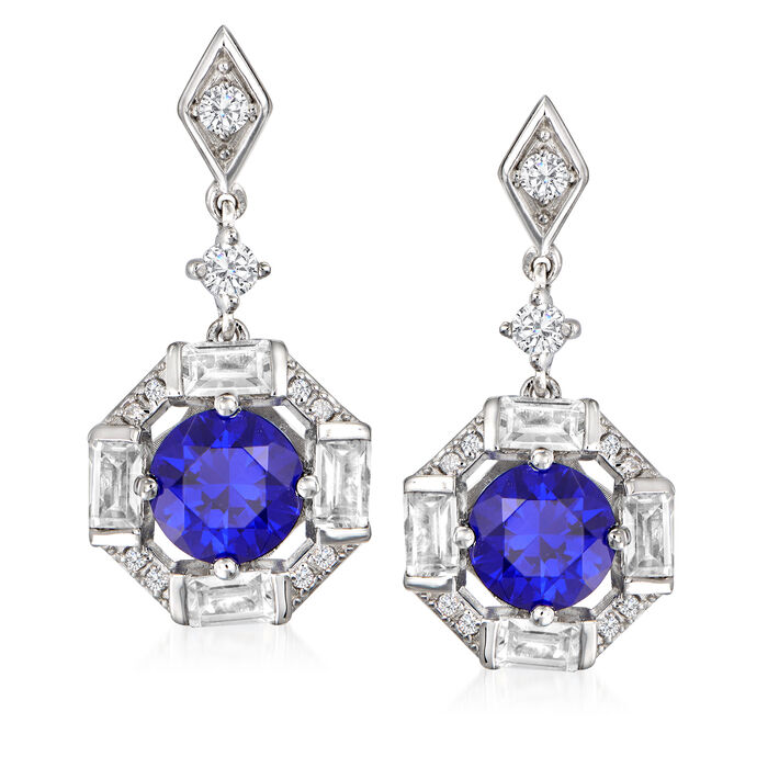 2.50 ct. t.w. Simulated Sapphire and 1.50 ct. t.w. CZ Drop Earrings in Sterling Silver