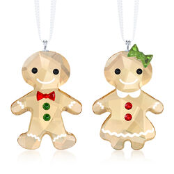 Swarovski Crystal Red and Green Crystal Ornament Set: Two Gingerbread People, , default