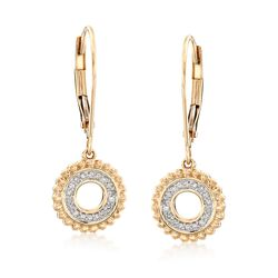 .12 ct. t.w. Diamond Open Circle Drop Earrings in 14kt Yellow Gold , , default