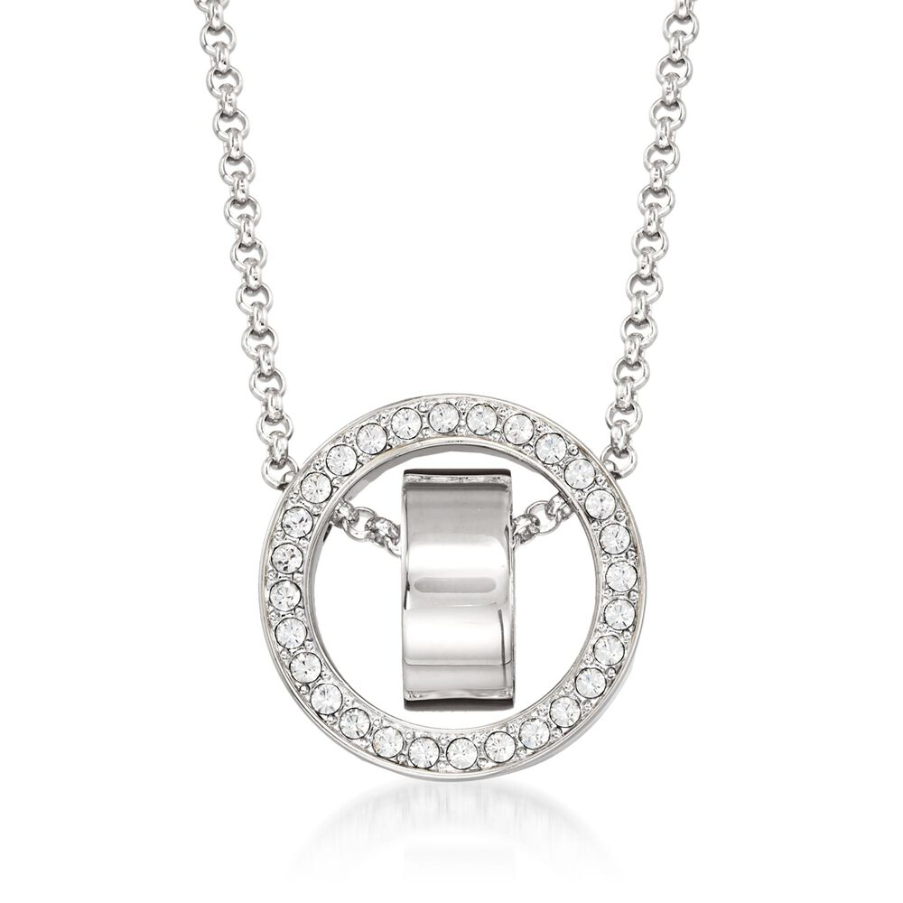 04f47e9829d9 Swarovski Crystal  quot Hollow quot  Pave Crystal Open Circle Necklace in  Silvertone.
