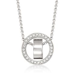 "Swarovski Crystal ""Hollow"" Pave Crystal Open Circle Necklace in Silvertone. 15""  , , default"