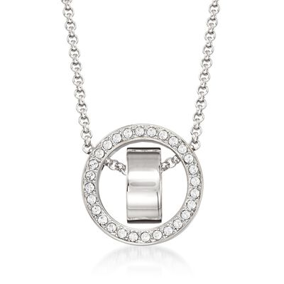 "Swarovski Crystal ""Hollow"" Pave Crystal Open Circle Necklace in Silvertone, , default"
