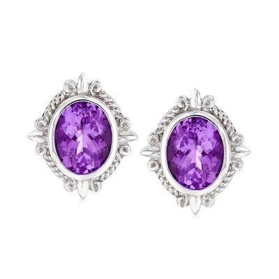 "Andrea Candela ""Fleur De Lis"" 5.27 ct. t.w. Amethyst Earrings in Sterling Silver"