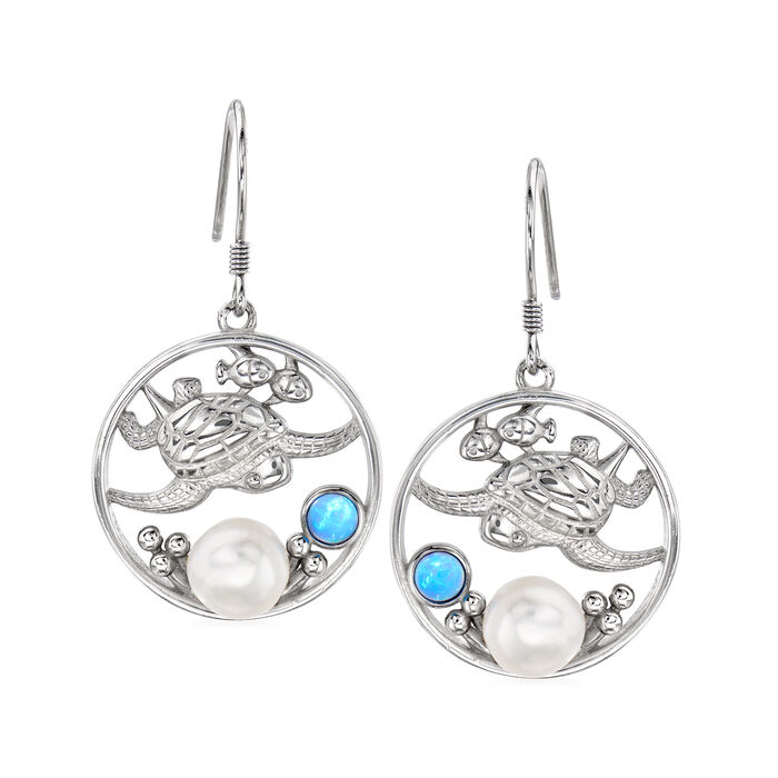 Cultured Button Pearl and Synthetic Blue Opal Drop Earrings in Sterling Silver