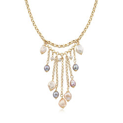Italian 4-12mm Multicolored Cultured Pearl Tassel Necklace in 18kt Gold Over Sterling, , default