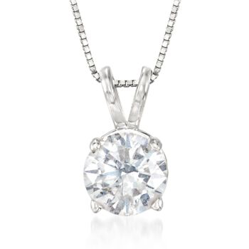 "1.00 Carat Diamond Solitaire Necklace in 14kt White Gold. 18"", , default"
