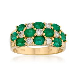2.00 ct. t.w. Emerald and .45 ct. t.w. Diamond Ring in 14kt Yellow Gold, , default