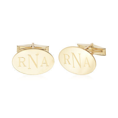 14kt Yellow Gold Three-Initial Oval Cuff Links, , default