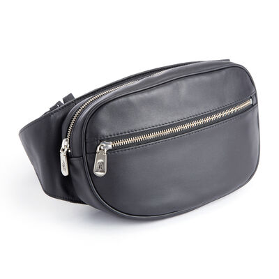 Royce Black Leather Hip and Crossbody Belt Bag