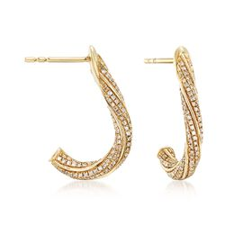 .50 ct. t.w. Diamond Twisted Earrings in 14kt Yellow Gold , , default