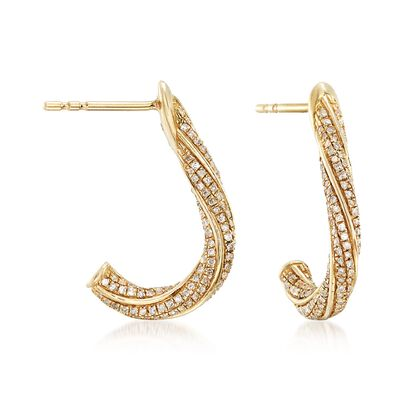 .50 ct. t.w. Diamond Twisted Earrings in 14kt Yellow Gold, , default