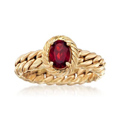 .70 Carat Garnet Curb-Link Ring in 14kt Yellow Gold, , default